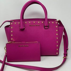 Michael kors Selma studded med satchel+wallet set